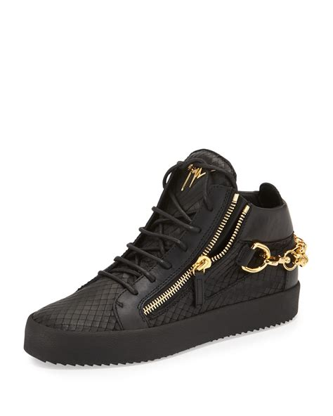 python sneaker giuseppe zanotti embossed python mid top leather sneaker