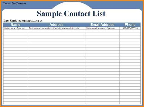 excel email list template 10 excel contact list template resume reference