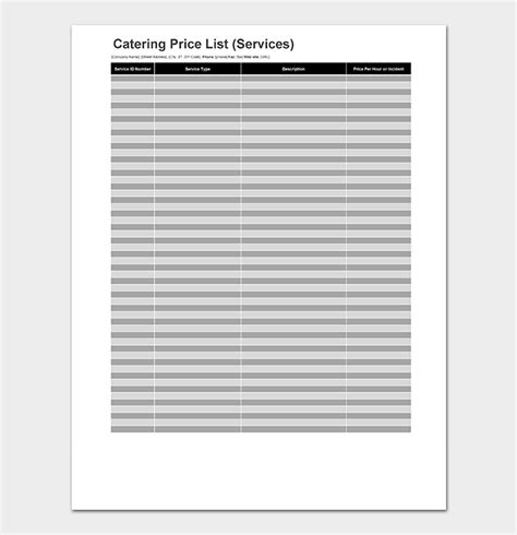 catering price list template catering price list template 10 menus price lists