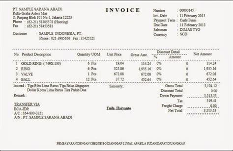 17 contoh invoice faktur tagihan pembayaran penjualan