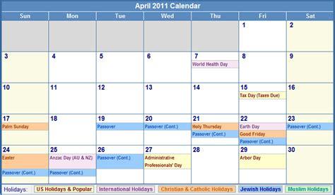 Kalender April 2011 April Calendar 2011 With Holidays