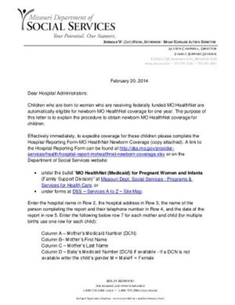 Hardship Letter For Obamacare sle financial support letter for medicaid open door