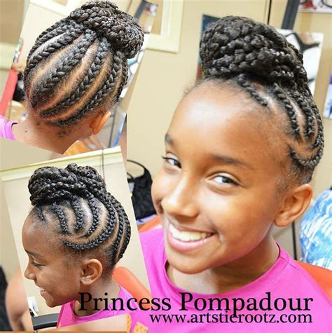 pompadour braid hairstyles artistic rootz pompadour cornrow updo hairstyle on natural