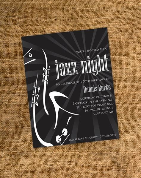party themes jazz birthday party invitations adult birthday party and