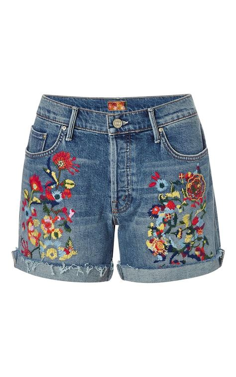 Denim Embroidered Shorts loosey embroidered jean shorts by denim machine