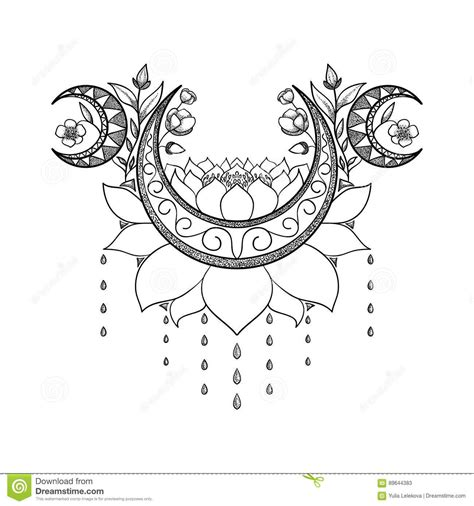moon flower tattoo design vector design crescent moon lotus and