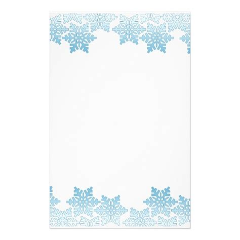 Light Blue Snowflake Border Stationery Zazzle Ca Snowflake Stationery Template