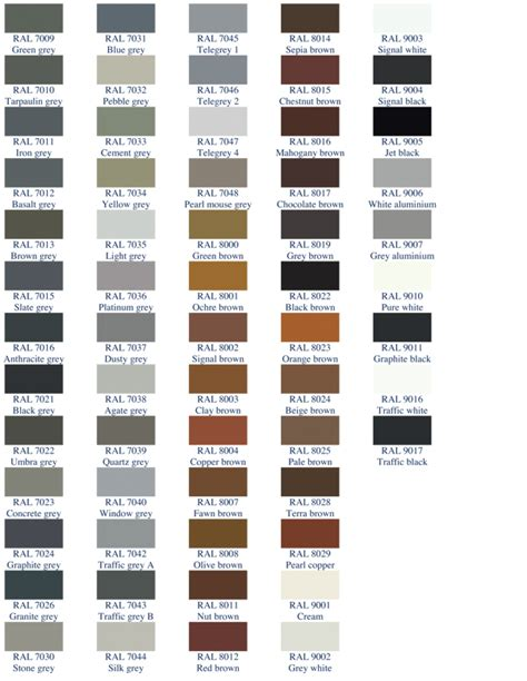 ral colour chart as pdf car interior design