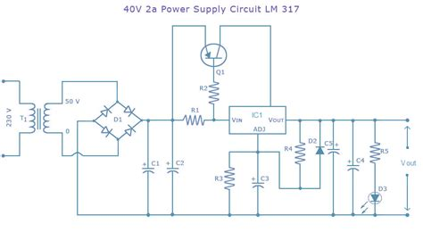 alimentatore stabilizzato lm317 power supply circuit dc 40 volts 2 ere using lm317