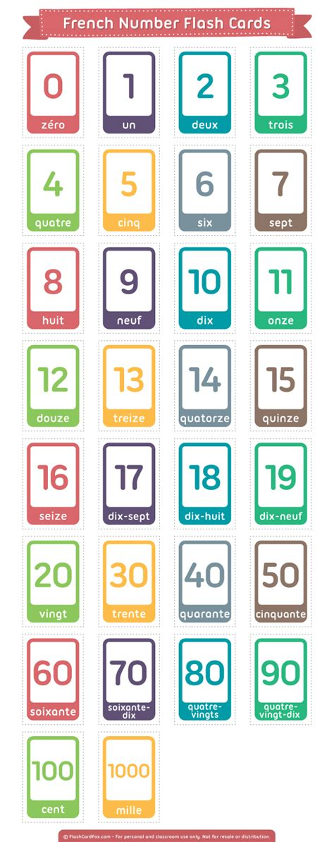 spanish numbers 1 100 printable flash cards printable french number flash cards