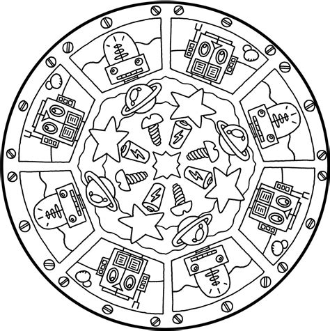 space mandala coloring pages robot theme omazing