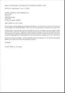 Raise Rejection Letter sle letter requesting for increase in credit limit