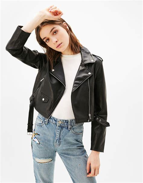 Tebal Bershka Outer Jaket Cropped Faux Leather Biker Jacket Outerwear Bershka