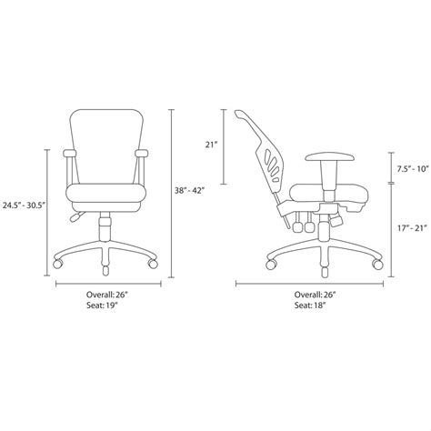 Office Chair Measurements by Lexmod Articulate Black Mesh Office Chair