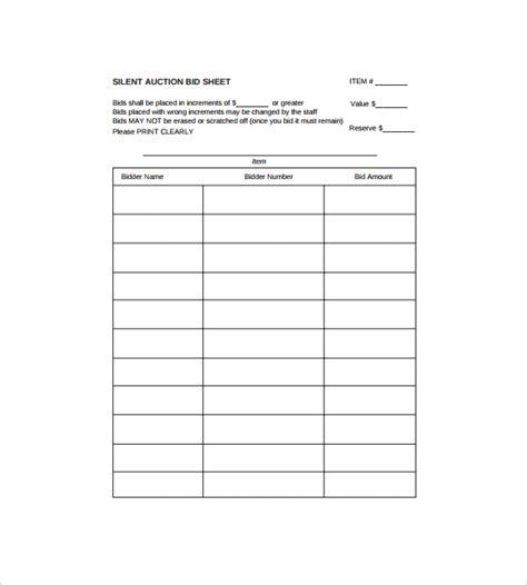 Silent Auction Bid Sheet Template 9 Download Free Documents In Pdf Bid Worksheet Template