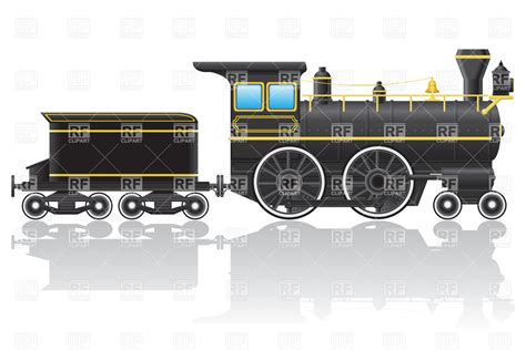 old steam locomotive side view vector clipart image