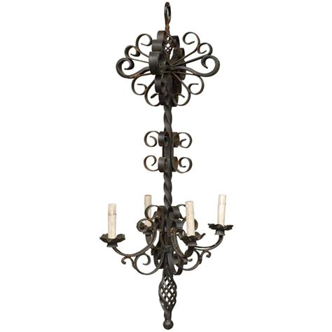 Forged Iron Chandelier Vintage Four Light Forged Iron Chandelier For Sale At 1stdibs