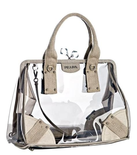 Sui Linen Frame Bag by Prada Pvc And Linen Frame Transparent Bag Ropa