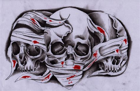 3 skulls by unibody on deviantart