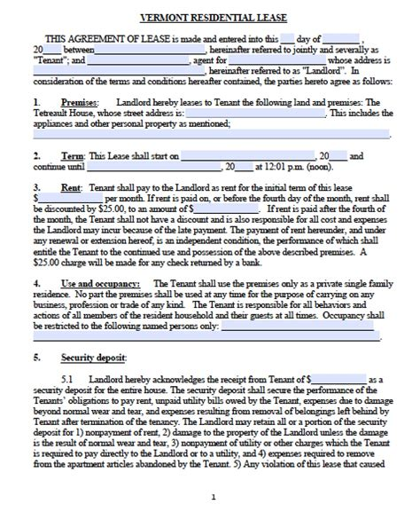 Download Vermont Rental Lease Agreement Forms And One Year Lease Template