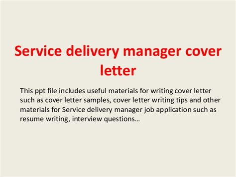 It Service Manager Cover Letter Service Delivery Manager Cover Letter