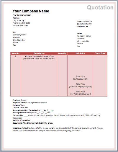 price quotation format template sample form biztree com
