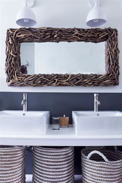 driftwood bathroom mirror driftwood mirror modern beach bathroom bath pinterest