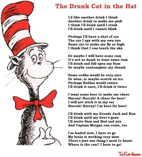 the cat in the hat in english and dr seuss with his long lost drinking poem photo funny lost birthdays and lifestyle