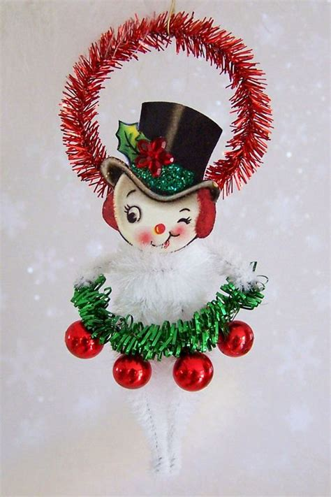 mr snowman christmas ornament feather tree by treepets on