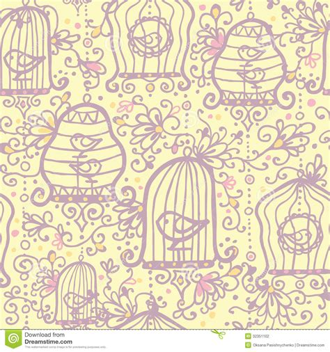 doodle pattern vector doodle birdcages seamless pattern background stock