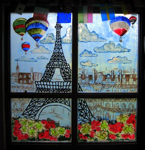 Eiffel Tower Wall Murals cassie stephens window painting