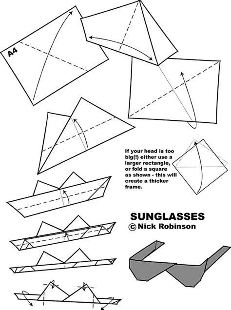 How To Make Paper Glasses - origami sunglasses