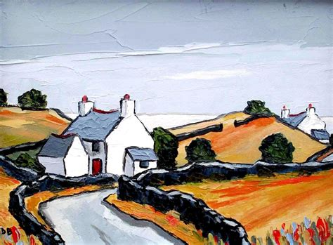 Cottages Near The Sea By Modern Contemporary Artist David Cottages Near The Sea