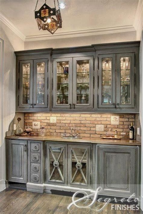 Gray Bar Cabinet The Brick Backsplash Kitchen Reno Pinterest Grey Cabinets Grey And Cabinets