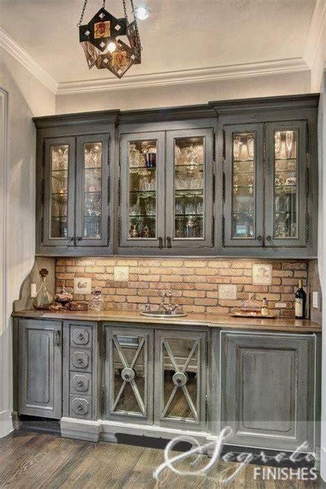 Love the brick backsplash   Kitchen Reno   Pinterest   Grey cabinets, Grey and Cabinets