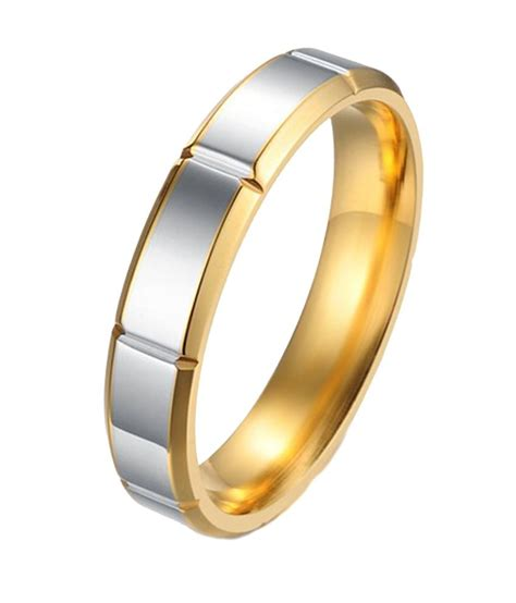 kaizer jewelry white tone gold stainless steel band