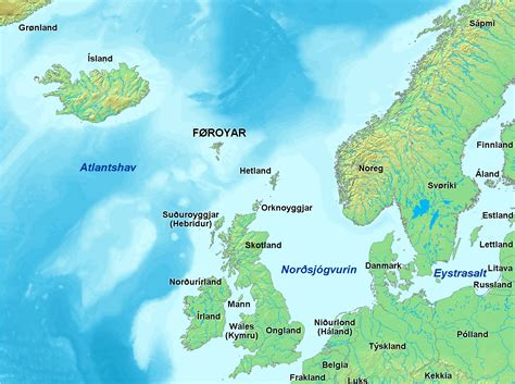 faroe islands map faroe islands situated between the sea and the atlantic approximately