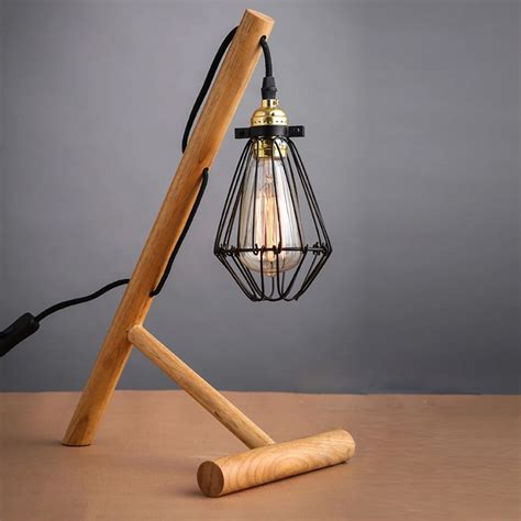 Handmade Bulbs - industrial wood table light craft desk l handmade