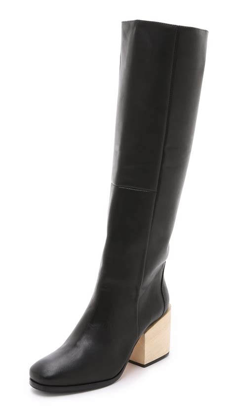 comey boots comey fisk knee boots black in black lyst