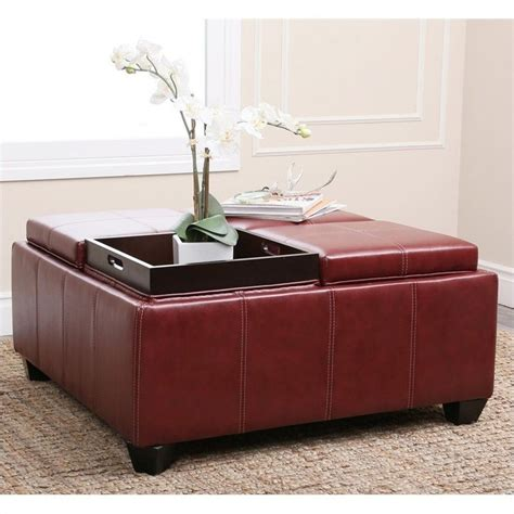 red leather ottoman coffee table abbyson living trapani square faux leather ottoman coffee