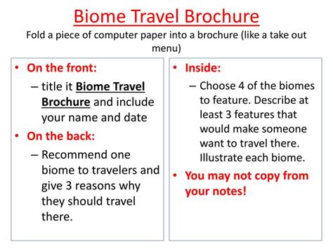 How To Make A Travel Brochure On Paper - ppt biome travel brochure fold a of computer paper