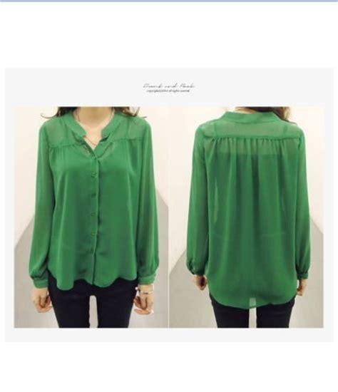 Fashion Baju Warna Hijau blouse cantik warna hijau modern 2015 model terbaru jual murah import kerja