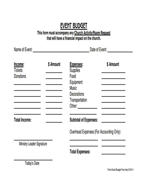 templates church church budget template