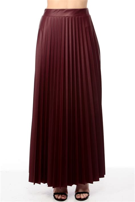 Maxi Shiren Set Maroon 3in1 sweet pleather pleated burgundy maxi skirt