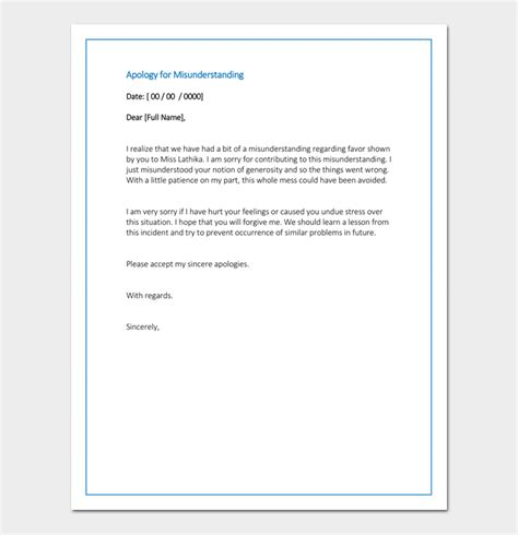 business letter of apology for misunderstanding personal apology letter useful sles exles