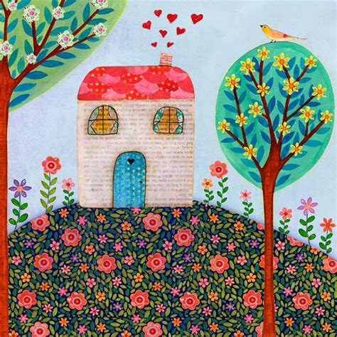house prints house painting folk art house wall art house warming