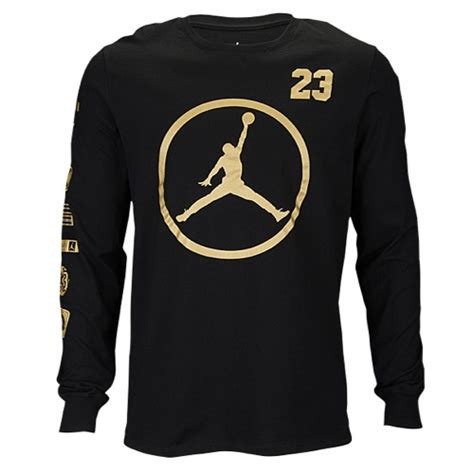 Longsleeve Black Gold 1933 Authentic jumpman sleeve t shirt s basketball