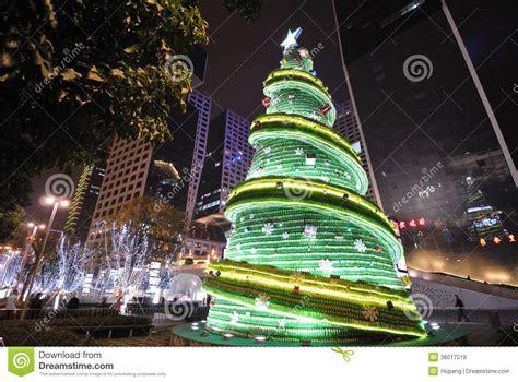 bottle christmas tree  night editorial stock image image