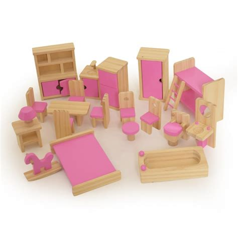 pink dolls house furniture wooden children s dolls house furniture set