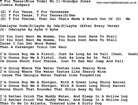 song t country music t for texas blue yodel no 1 grandpa jones